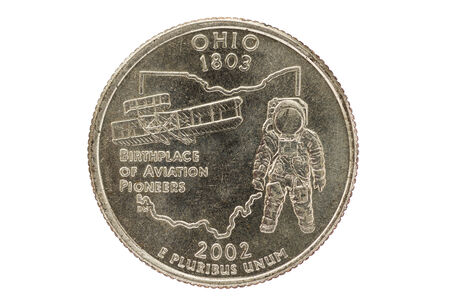 pluribus: Ohio state commemorative quarter coin isolated on white