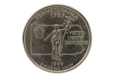 pluribus: Pennsylvania state commemorative quarter coin isolated on white background