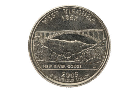 25 cents: West Virginia state commemorative quarter coin isolated on white background