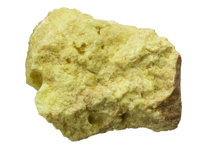 elemental native sulfur rock isolated on white background