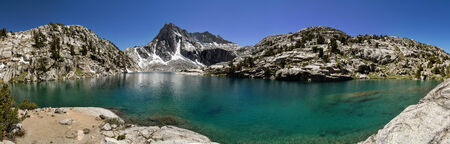 packer: Sierra Nevada mountain lake panorama with Hungry Packer Lake and Picture Peak Stock Photo