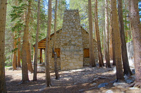 the Lon Chaney cabin in the woods near Big Pine in California photo