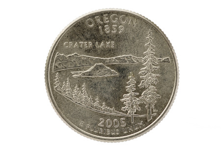 25 cents: Oregon state commemorative quarter coin isolated on white background