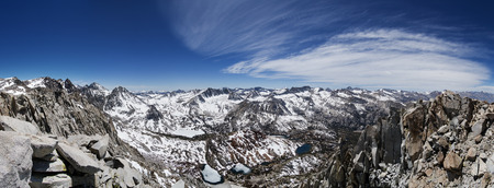 chocolate peak: panorama of the Sierra Mountains in the spring as the snow melts