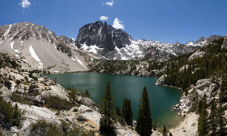 crag: Temple Crag above Second Lake in the north Big Pine Creek drainage near the Palisades of the Sierra Nevada Mountains Stock Photo