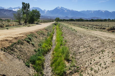 owens valley: empty dry irrigation channel in the Owens Valley near Bishop