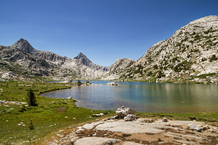 basin mountain: Evolution lake and Mount Spenser in Evolution Basin in the Sierra Nevada Mountains