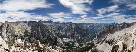 basin mountain: Sierra Nevada summit panorama from the top of Langille Peak overlooking LeConte Canyon and the Pacific Crest Trail Stock Photo