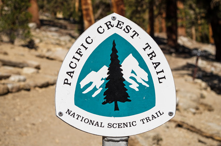 pct: Pacific Crest Trail or PCT national scenic trail sign Stock Photo