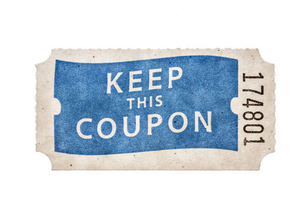 raffle coupon ticket with keep this coupon and a number isolated on white Foto de archivo
