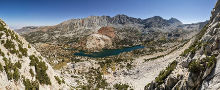 panorama landscape of Bishop Pass valley with lakes and peaks