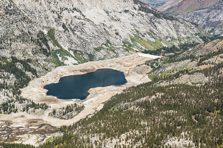 aerial view showing low water level in South Lake reservoir in California because of drought