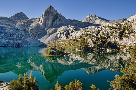kings canyon national park: reflection of Painted Lady Mountain in Rae Lake in Kings Canyon National Park