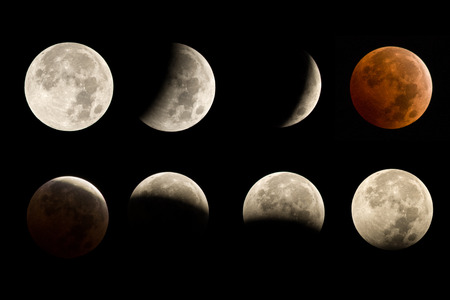 moon eclipse: lunar eclipse sequence including total eclipse blood moon