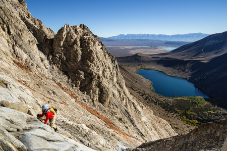 laurel mountain: man climbing up Laurel Mountain above Convict Lake Stock Photo