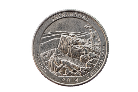 unum: Shenandoah Virginia quarter commemorative coin isolated on white background