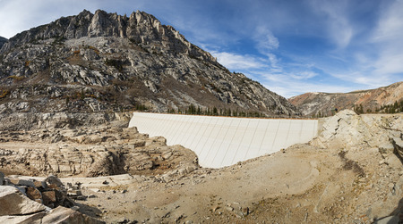 South Lake dam with no water visible because of California drought Stock Photo