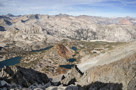 top down: view from the top of Cloudripper Mountain looking down over Chocolate Peak and long lake in the Sierra Nevada Mountains Stock Photo