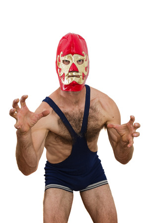 middle aged man with professional wrestling mask on white background photo