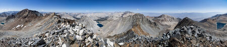high sierra: 360 degree Sierra Nevada Mountain panorama from the summit of Striped South Mountain Stock Photo