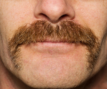 close up of mans face with one month old movember mustache Banco de Imagens