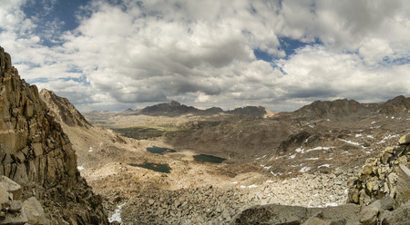 panorama from Snowtongue Col across Glacier Divide looking back into Humphreys Basin in the Sierra Nevada Mountains