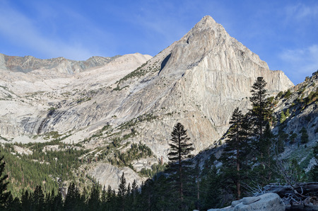 view across LeConte Canyon in Kings Canyon National Park in California towards Langille Peak