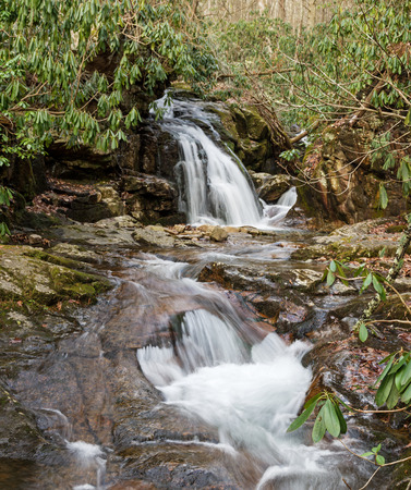 waterfall in Stoney Creek at blue hole in Tennessee with long exposure Stock Photo
