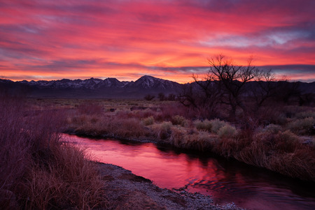 Owens Valley Sunset with reflection in the Owens River Stock Photo