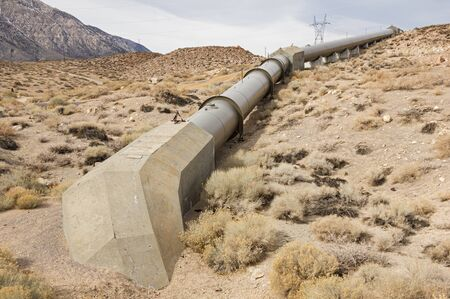 hydro electric: Owens River Gorge penstock pipe leading to the middle gorge hydro electric power plant