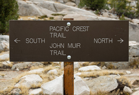 pct: Pacific Crest Trail and John Muir Trail north and south sign Stock Photo