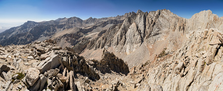 sierras: panorama of the high Sierra from the summit of Gamblers Special including Lone Pine Peak Mount Muir Mount Whitney  Russel and Carillon