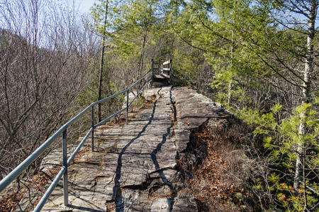 trail along the steep narrow spine of Backbone Ridge in Tennessee Stock Photo