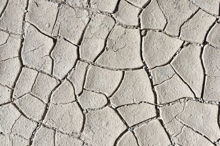 dried shrinkage mud cracks background in the desert Stock Photo