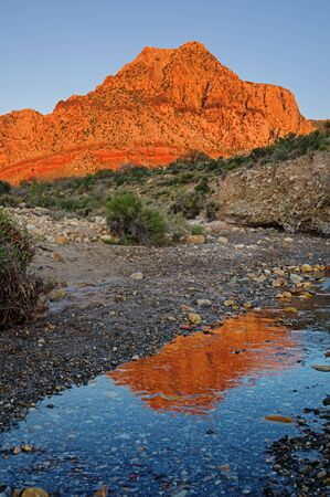 reflection of Red Rocks mountain lit up by morning light in a small stream
