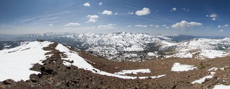 panorama from the summit of Sonora Peak in the Sierra Nevada mountains looking south over Sonora Pass