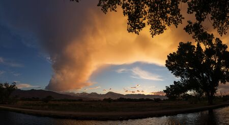 owens valley: Owens valley sunset over an irrigation canal Stock Photo