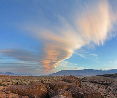 owens valley: Sierra wave cloud over the volcanic tablelands of the Owens River Valley