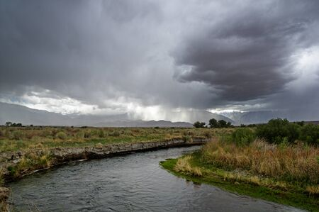 owens valley: spring storm over the owens river valley and the Sierra Nevada Mountains