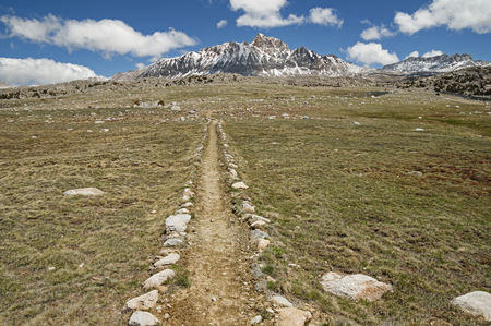 mount humphreys: trail across the Humphreys Basin in the Sierra Nevada Mountains with Mount Humphreys on the horizon