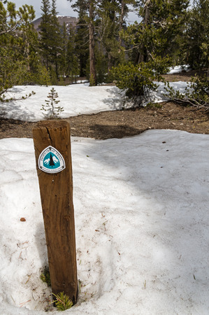 pct: Pacific Crest Trail or PCT at Sonora Pass crosses snow patches in the Sierra Nevada Mountains of California