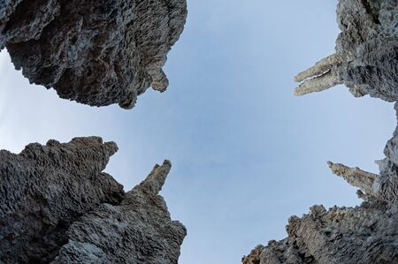 looking up among the Mono Lake tufa towers with interesting perspective