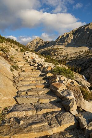 stone steps going up the trail to Pine Creek Pass in the Sierra Nevada Mountains of California