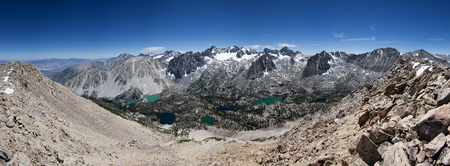 sierra nevada mountain range: panorama of the Palisade Range in the Sierra Nevada Mountains of California taken from Sky Haven Mountain summit Stock Photo