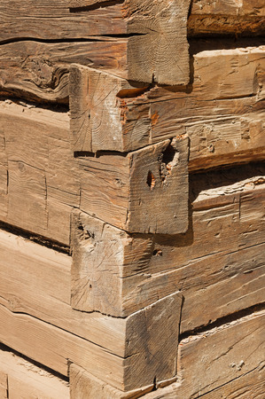 settler: detail of the corner of a log cabin showing dovetail joints