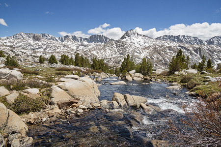 mount humphreys: Sierra Nevada Landscape with Glacier Divide viewed from Humphreys Basin with stream in foreground Stock Photo