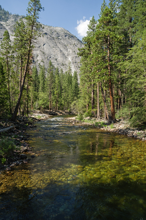 the Tuolumne River flows through the Grand Canyon of the Tuolumne in Yosemite National Park in California Stock Photo