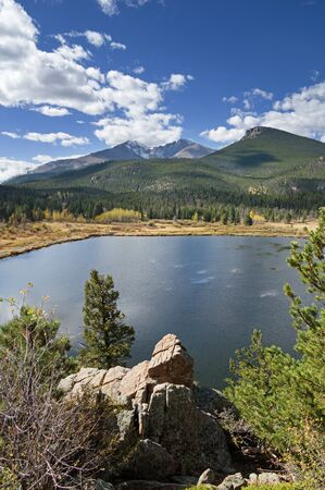 vertical picture of Lily Lake and Longs Peak in rocky Mountain National Park Colorado in the fall