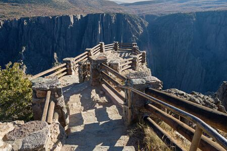 steps leading down to the Gunnison Ppoint overlook at the Black Canyon of the Gunnison National Park Colorado