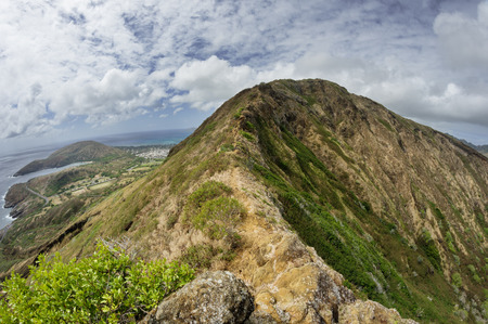 wide angle image of the rim of Koko Head Crater from the east